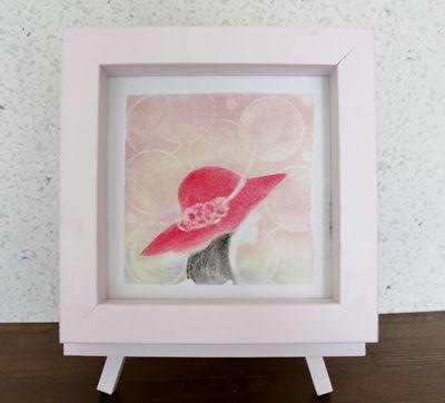 パステルアート・赤い帽子の少女.JPG